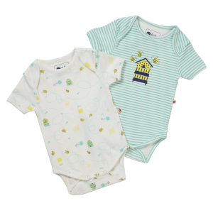 two short sleeved body vests with a honey bee theme