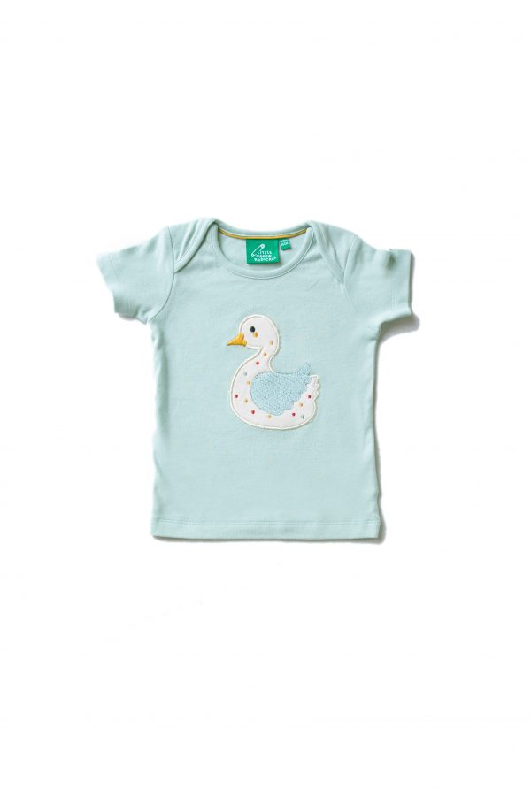pale blue short sleeve top with duck applique