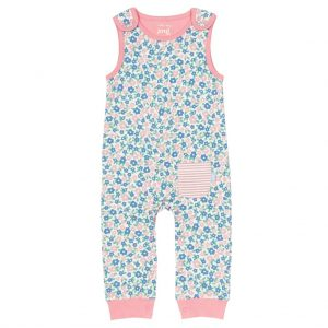 organic footless floral print dungarees with pink trim, sleeveless, popper shoulders and crotch,