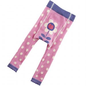 pink footless tights with a purple trim and white polka dots, featuring a daisy on the nappy area