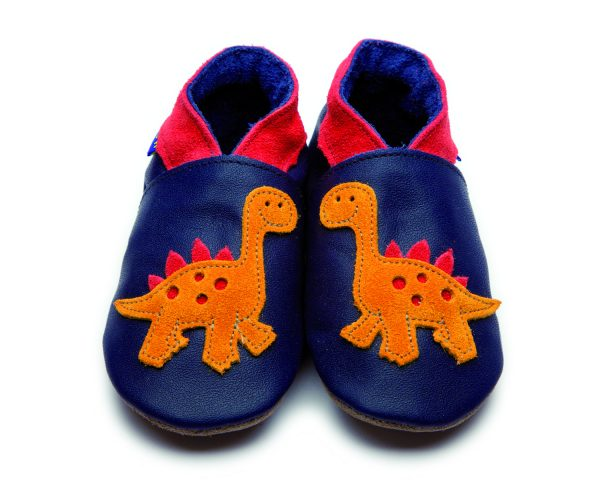 orange dinosaur applique on a deep navy moccasin suede soft shoe