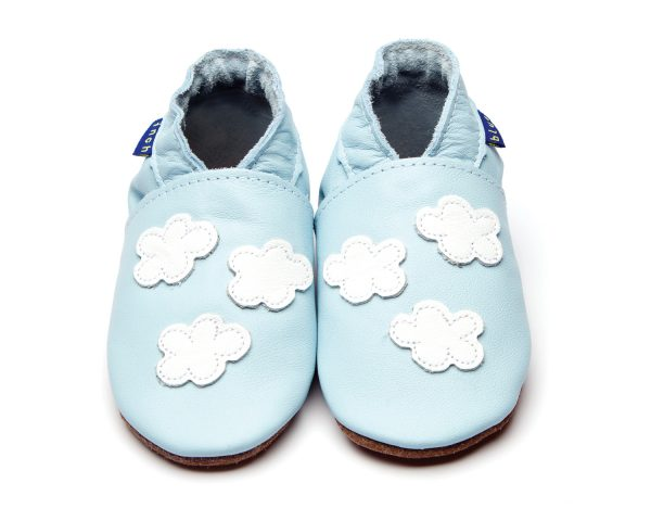 pale blue barefoot shoes with white clouds